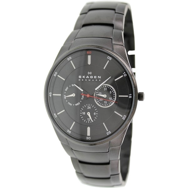Skagen Men's Aabye SKW6055 Black Stainless-Steel Quartz Watch with Black Dial