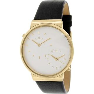 Skagen Men's Ancher SKW6107 Black Leather Quartz Watch with White Dial