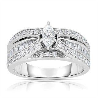 14k White Gold 1ct TDW Marquise Cut Solitaire Diamond Engagement Ring (I-J, SI1-SI2)
