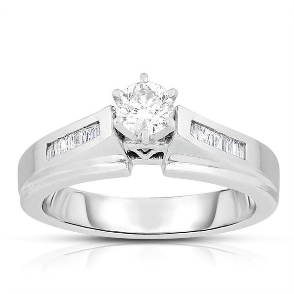 14k White Gold 1/2ct TDW Solitaire Brilliant Diamond Engagement Ring (J-K, I1-I2)