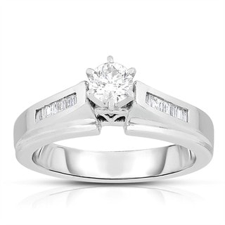 14k White Gold 1/2ct TDW Solitaire Brilliant Diamond Engagement Ring (J-K, I1-I2)