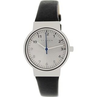 Skagen Women's Ancher SKW2188 Black Leather Quartz Watch with Silver Dial