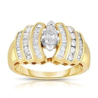 14k Yellow Gold 1ct TDW Marquise Cut Solitaire Diamond Ring (H-I, I2-I3)