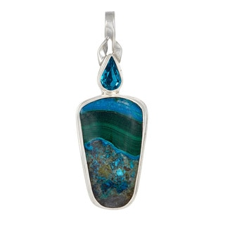 Chrysocolla and Crystal Blue Zircon Sterling Silver Pendant
