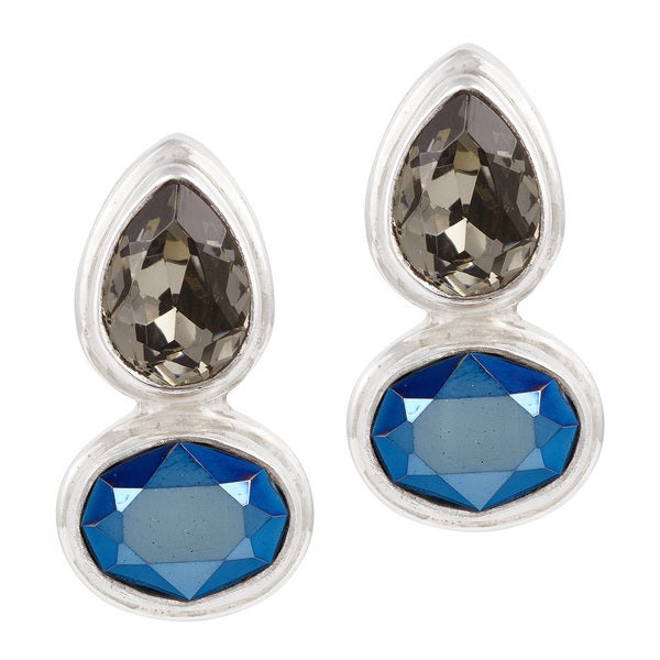 Crystal Black Crystal and Metallic Blue Sterling Silver Post Earrings