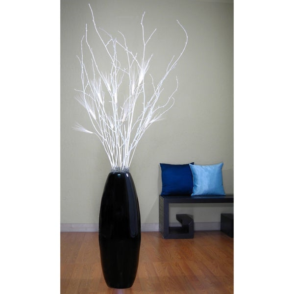 28-inch Black Lacquer Cylinder Vase and White Birch Branches