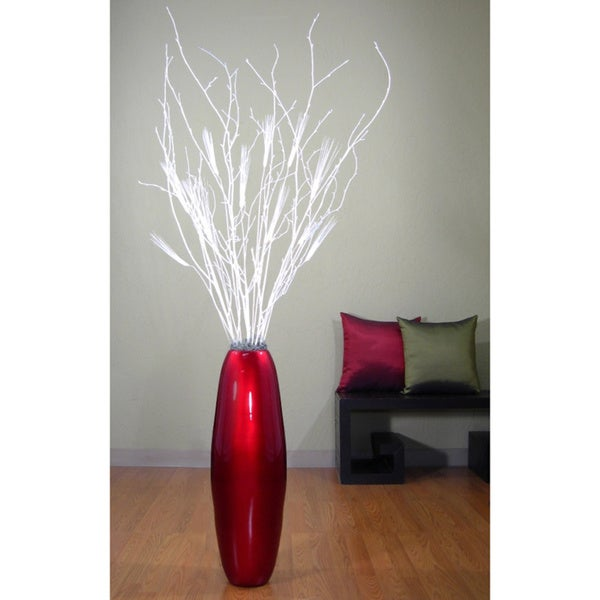 28-inch Red Lacquer Cylinder Vase and White Birch Branches