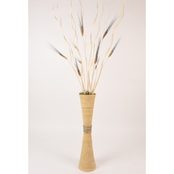 27-inch Natural Bamboo Trumpet Vase with Floral