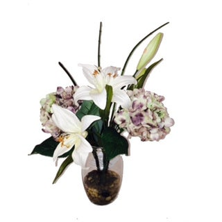 Silk Day Lily and Hydrangea Flower Arrangement