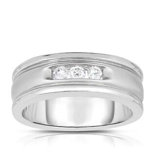 14k White Gold 1/3ct TDW 3-stone Diamond Ring (H-I, SI1-SI2)