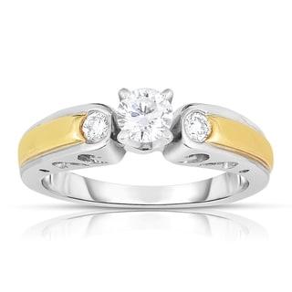 18k Gold and Platinum 3/8ct TDW Brilliant Diamond Ring (I-J, I1-I2)