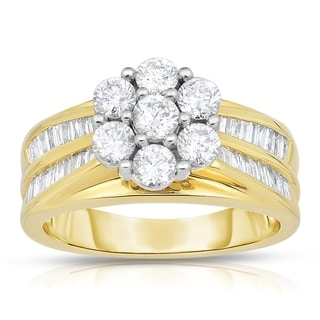 14k Two-tone Gold 1 1/2ct TDW Flower Shaped Halo Diamond Engagement Ring (H-I, I1-I2)