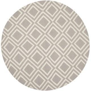 Safavieh Hand-woven Moroccan Dhurries Grey/ Ivory Wool Rug (6' Round)
