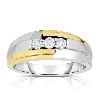 14k Two-tone Gold 1/2ct TDW 3-stone Diamond Ring (H-I, I1-I2)
