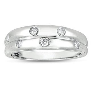 14k White Gold 1/5ct TDW Flush Set Multirow Diamond Band (H-I, I1-I2)