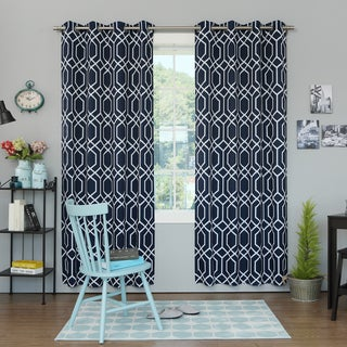 Lights Out Geometric Trellis Printed Room Darkening Curtain Panel Pair