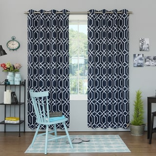 Geometric Trellis Printed Room Darkening 84-inch Curtain Panel Pair