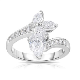 Platinum 1 1/2ct TDW Vintage Pear and Marquise Diamond Ring (H-I, SI1-SI2)
