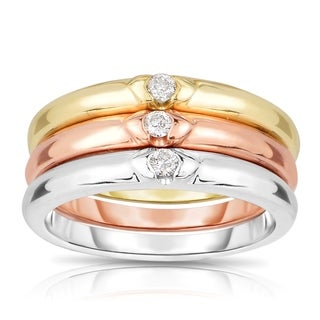 14k Tri-tone Gold 1/8ct TDW 3-piece Solitaire Brilliant Diamond Band (J-K, I2-I3)