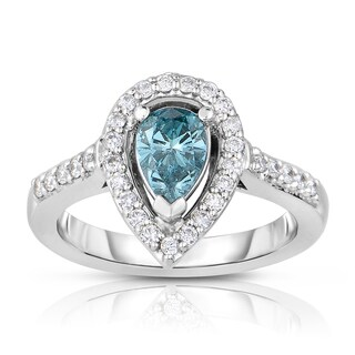 14k White Gold 1ct TDW Blue Pear Shaped Solitaire Halo Diamond Engagement Ring (Blue, I2-I3)