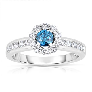 14k White Gold 1ct TDW Blue Solitaire Brilliant Halo Diamond Engagement Ring (Blue, I1-I2)