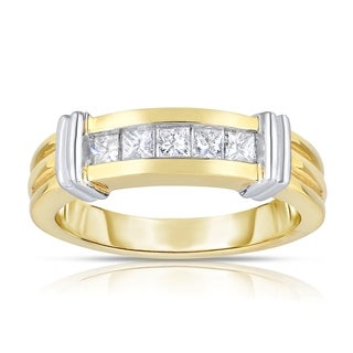 14k Two-tone Gold 3/4ct TDW 5-stone Diamond Ring (H-I, I1-I2)