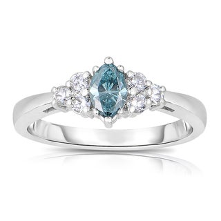 14k White Gold 5/8ct TDW Blue Marquise-cut Diamond Engagement Ring (Blue, I1-I2)