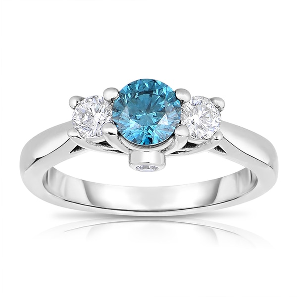 14k White Gold 1ct TDW Blue 3-stone Round Diamond Engagement Ring (Blue, I1-I2)