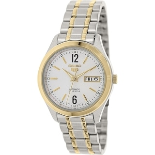 Seiko Men's 5 Automatic SNKM58K Two-tone stainless steel Automatic Watch with Silver Dial