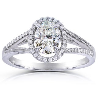 Annello 14k White Gold 1ct TDW Certified Oval-cut Halo Diamond Engagement Ring (I, SI1) with Bonus Item