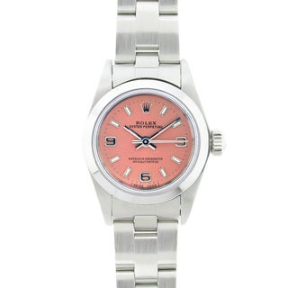 Pre-owned Rolex Women's Oyster Perpetual Stainless Steel Salmon Arabic Dial Watch
