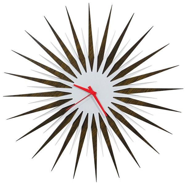 Modern Crowd u0026#39;RF Atomic Clock u2013 Walnut and Whiteu0026#39; Midcentury Modern Starburst Wall Clock ...