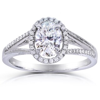 Annello 14k White Gold 1 1/10ct TDW Certified Oval-cut Halo Diamond Engagement Ring (F-G, SI2)