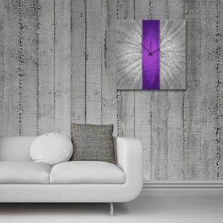 Metal Art Studio 'Violet Stripe Clock' Colorful Large Modern Wall Clock