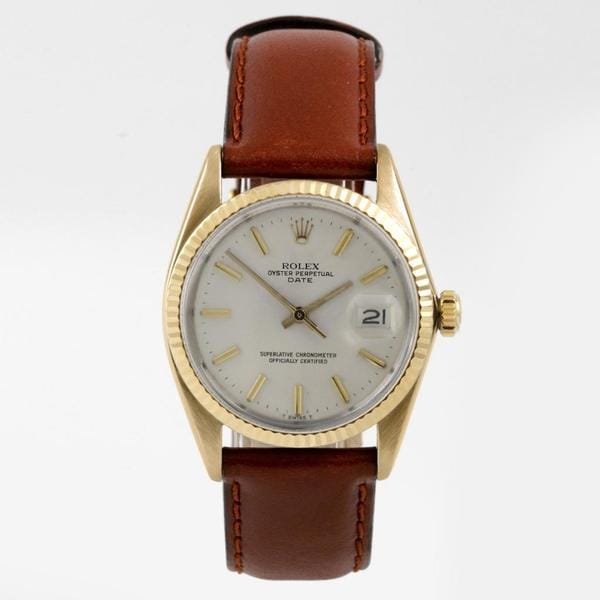 Pre-Owned Rolex Men's 15000 Date Series Yellow Gold Brown Leather Strap Watch