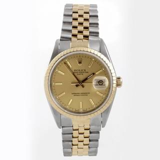 Pre-Owned Rolex Men's 15000 Date Series Two-tone Stainless Steel Champagne Dial Watch