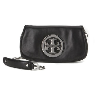 Tory Burch Black and Silver Logo Clutch
