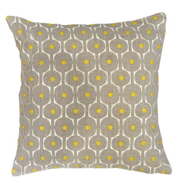 Cell Grey Feather-filled Decorative Pillow
