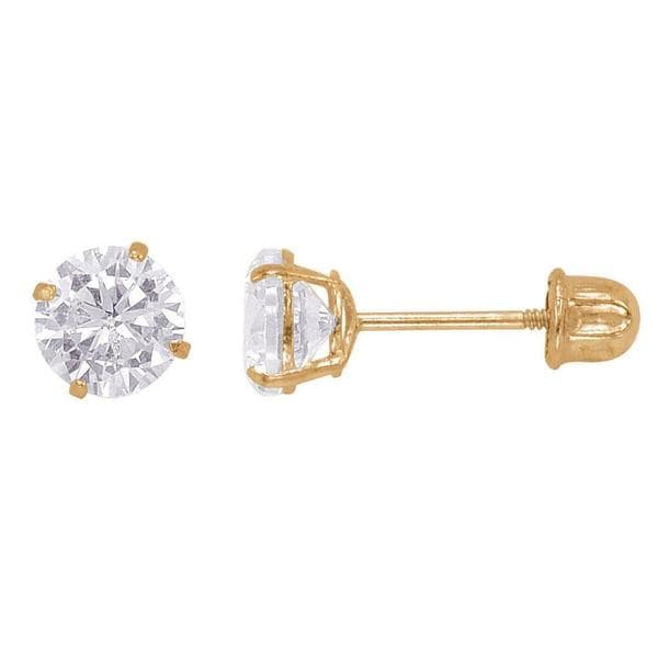 14k Gold Round 5mm Cubic Zirconia Screw-back Stud Earrings