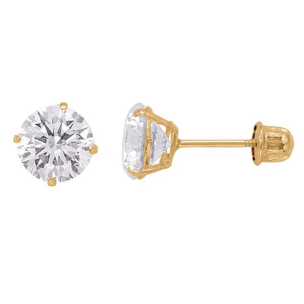 14k Gold Round Cubic Zirconia 6mm Screw-back Stud Earrings