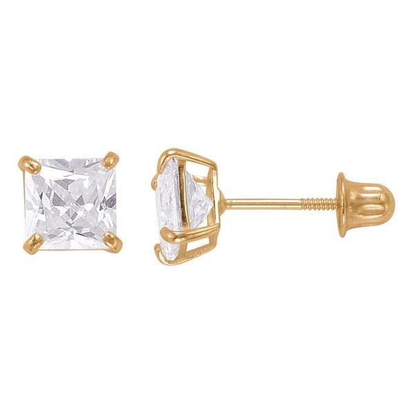 14k Gold Princess-cut Cubic Zirconia 5mm Stud Earrings