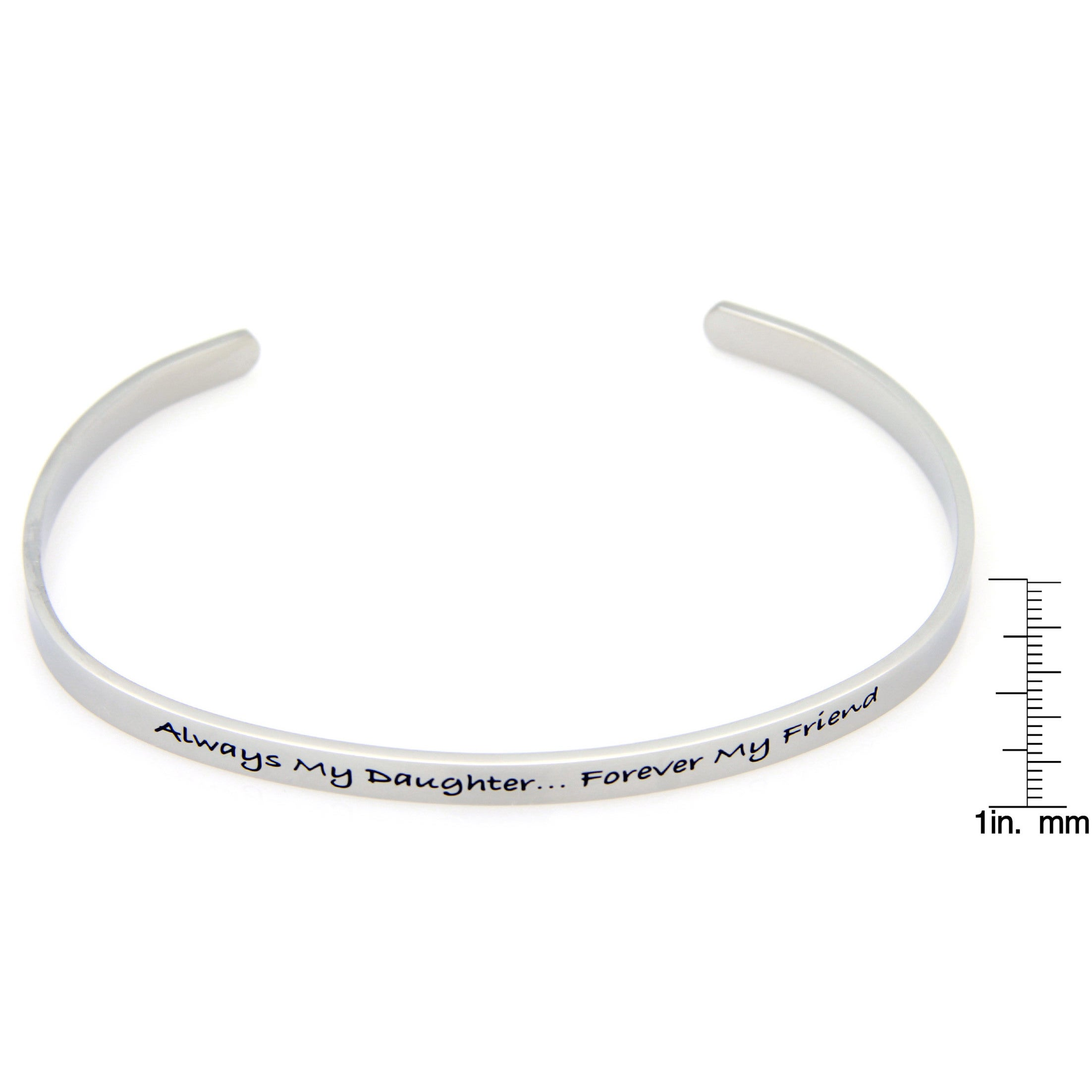 Overstock.com Stainless Steel Always My Daughter Forever My Friend Cuff Bracelet