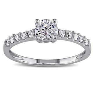 Miadora 14k White Gold White Cubic Zirconia and 1/4ct TDW Diamond Engagement Ring (G-H, I1-I2)