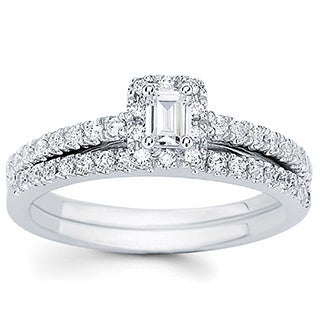 14k White Gold 1ct TDW Emerald-cut Center Bridal Ring Set (I-J, I1-I2)