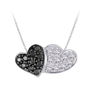 Sterling Silver 1/10ct TDW Black and White Diamond Double Heart Pendant (G-H, I2-I3)