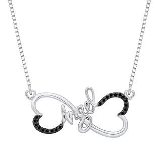 Sterling Silver 1/10ct TDW Black Diamond Angel Pendant (Black, I1)
