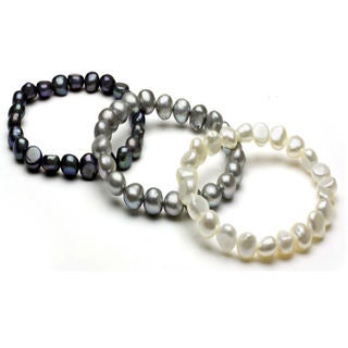 DaVonna White, Black and Grey Pearl 3-pair Stretch Bracelet (8-9 mm)