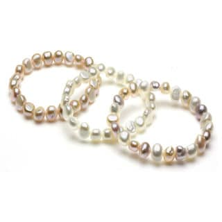 DaVonna White, Pink and Multi Pearl 3-pair Stretch Bracelet (8-9 mm)