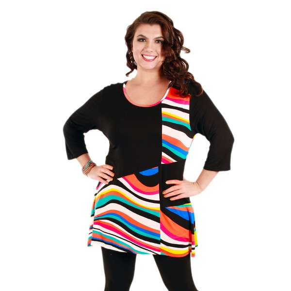 Women's Plus Black and Rainbow-striped Colorblocked Tunic