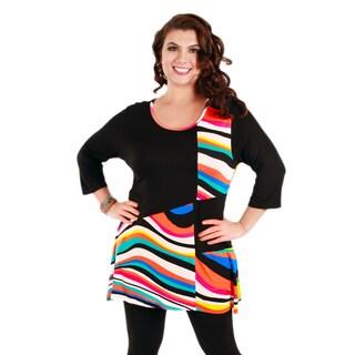 Women's Plus Black and Rainbow-striped Colorblocked Tunic